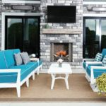 Mayhew White Outdoor Set with Dupione Deep Sea Fabric